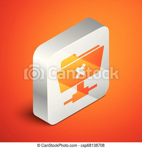 Isometric FTP cancel operation icon on orange background. Concept of software update, transfer protocol, router, teamwork tool management, copy process. Silver square button. Vector Illustration - csp68138708