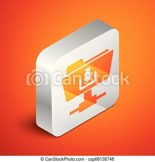 Isometric FTP folder download icon on orange background. Concept of software update, transfer protocol, router, teamwork tool management, copy process. Silver square button. Vector Illustration - csp68138748