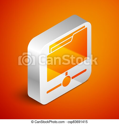 Isometric FTP folder icon isolated on orange background. Software update, transfer protocol, router, teamwork tool management, copy process, info. Silver square button. Vector - csp83691415
