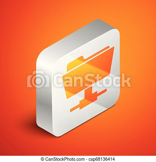 Isometric FTP folder icon on orange background. Concept of software update, ftp transfer protocol, router, teamwork tool management, copy process, info. Silver square button. Vector Illustration - csp68136414