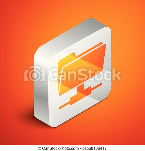 Isometric FTP folder icon on orange background. Concept of software update, ftp transfer protocol, router, teamwork tool management, copy process, info. Silver square button. Vector Illustration - csp68136417