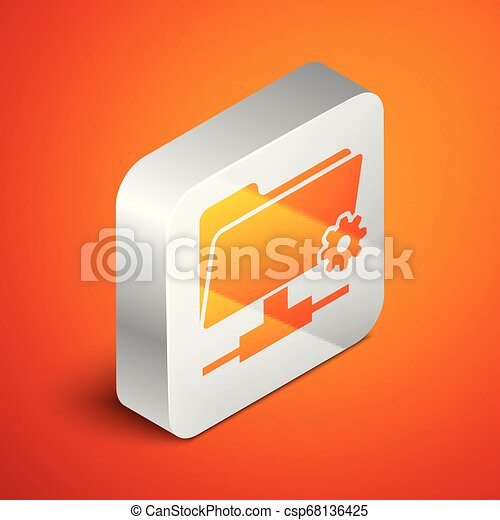 Isometric FTP settings folder icon on orange background. Concept of software update, transfer protocol, router, teamwork tool management, copy process. Silver square button. Vector Illustration - csp68136425
