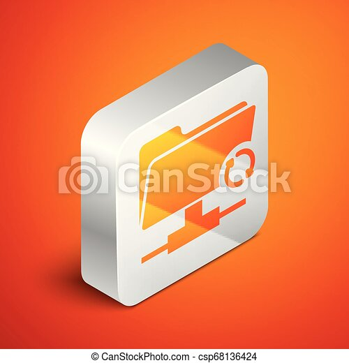 Isometric FTP sync refresh icon isolated on orange background. Concept of software update, transfer protocol, router, teamwork tool management, copy process. Silver square button. Vector Illustration - csp68136424