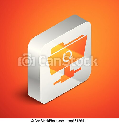 Isometric FTP sync refresh icon isolated on orange background. Concept of software update, transfer protocol, router, teamwork tool management, copy process. Silver square button. Vector Illustration - csp68136411