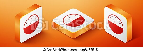 Isometric Fuel gauge icon isolated on orange background. Full tank. Orange square button. Vector - csp84675151