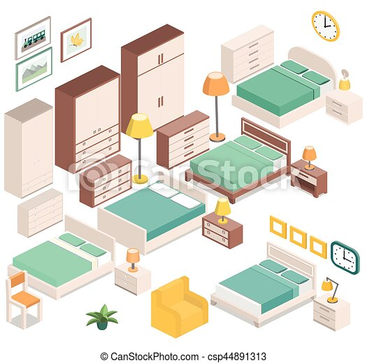 isometric furniture for bedroom vector graphic furniture