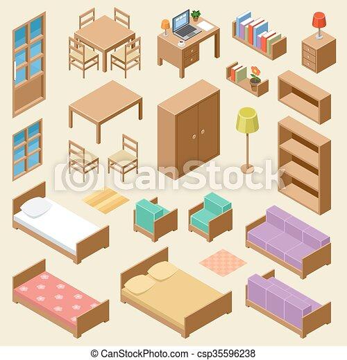 Isometric furniture set - csp35596238
