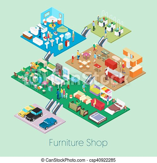 Isometric Furniture Shop Inside with Kitchen, Bathroom and Living Room Furniture. Vector 3d flat illustration - csp40922285