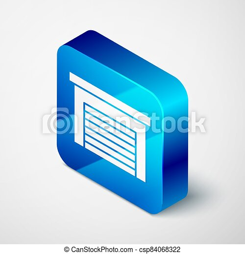 Isometric Garage icon isolated on grey background. Blue square button. Vector - csp84068322