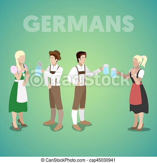 Isometric German People In Traditional Clothes Vector 3d Flat Illustration