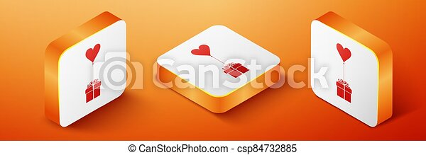 Isometric Gift with balloon in shape of heart icon isolated on orange background. Valentine's day, wedding, birthday card. Orange square button. Vector - csp84732885