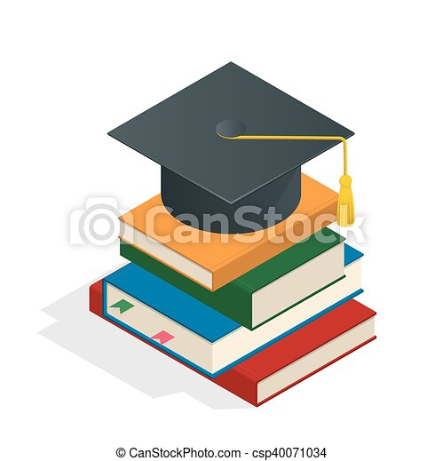 Isometric Graduation concept illustration. Heap of book graduate cap on top book license stationery. - csp40071034