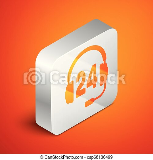 Isometric Headphone for support or service icon isolated on orange background. Concept of consultation, hotline, call center, faq, maintenance, assistance. Silver square button. Vector Illustration - csp68136499