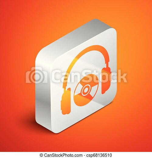 Isometric Headphones and CD or DVD icon isolated on orange background. Earphone sign. Compact disk symbol. Silver square button. Vector Illustration - csp68136510