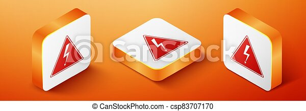 Isometric High voltage sign icon isolated on orange background. Danger symbol. Arrow in triangle. Warning icon. Orange square button. Vector - csp83707170