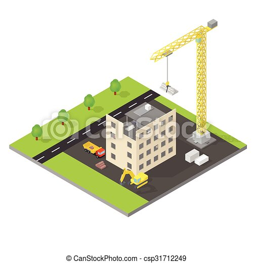 Isometric house under construction  - csp31712249