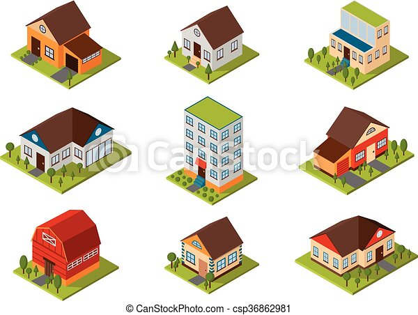 Isometric house vector illustration. - csp36862981
