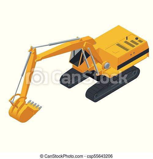 Isometric Hydraulic Excavator Isolated On White Background Excavators Heavy Construction Equipment Vector Illustration