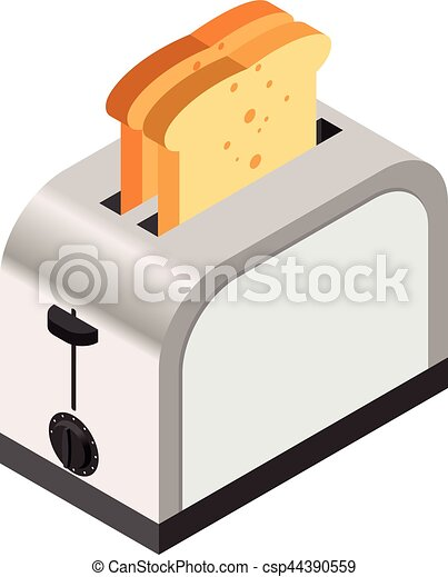 Isometric icon of a toaster with bread - csp44390559