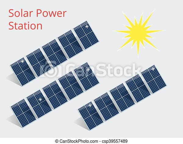 Isometric illustration of a solar power station - csp39557489