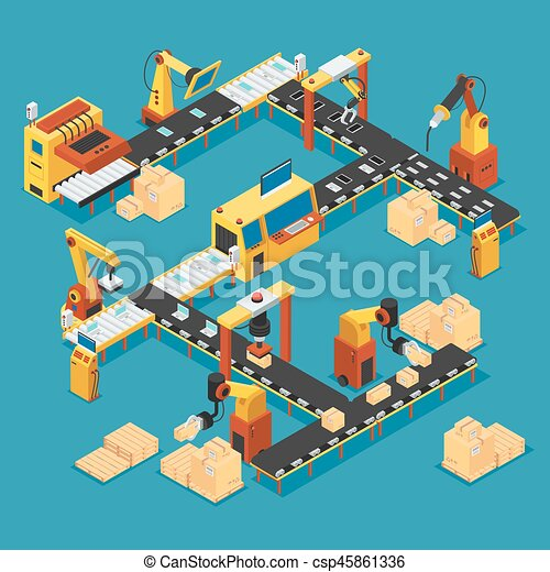 Isometric industrial factory template. Isometric industrial factory ...