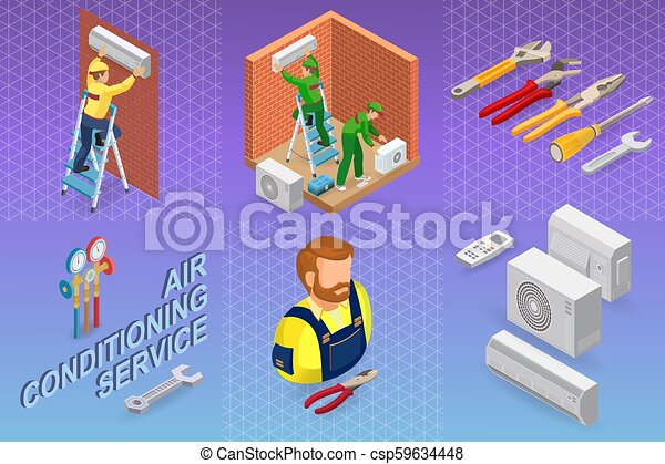 Isometric interior repairs concept. System of air conditioning. - csp59634448