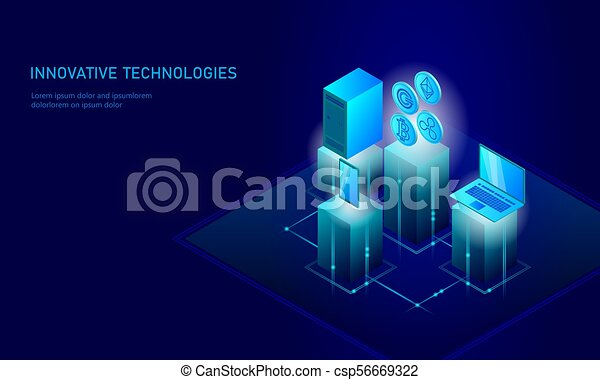 Isometric internet cryptocurrency coin business concept  Blue glowing  isometric Bitcoin Ethereum Ripple GCC coin finance mining pc smartphone  future