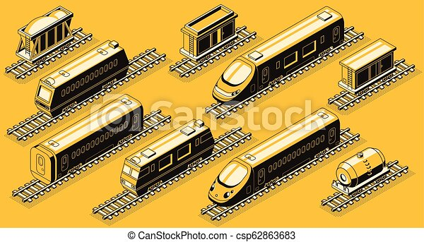 isometric, jogo, indústria, vetorial, ferrovia, elementos - csp62863683