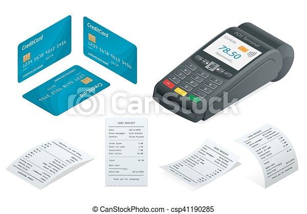 isometric, karta, zbyt, terminal, pos, kredyt, drukowany, recepta., debet - csp41190285