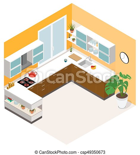 Isometric Kitchen Design. Vector Isometric Low Poly Kitchen Room Icon.