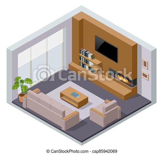 Isometric Large Luxury Modern Bright Interiors Room Fireplace And Tv Modern Living Room Interior Of Real Home Isolated On