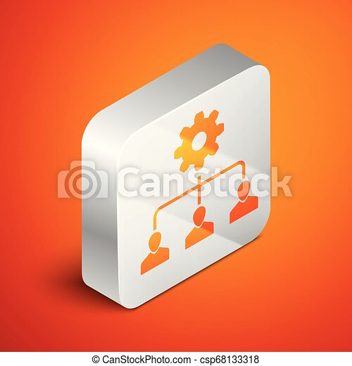 Isometric Lead management icon isolated on orange background. Silver square button. Vector Illustration - csp68133318