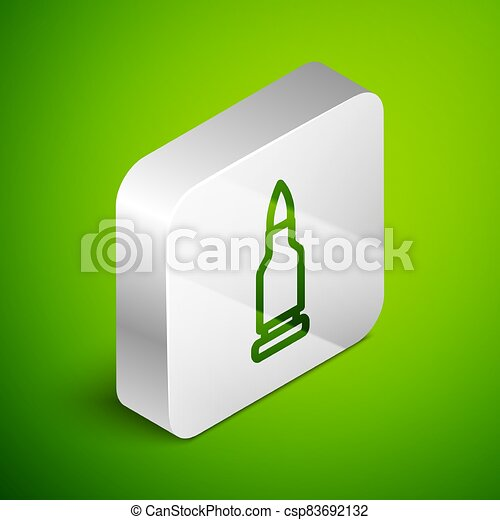 Isometric line Bullet icon isolated on green background. Silver square button. Vector - csp83692132