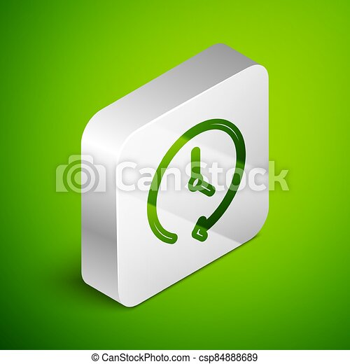 Isometric line Clock icon isolated on green background. Time symbol. Silver square button. Vector - csp84888689