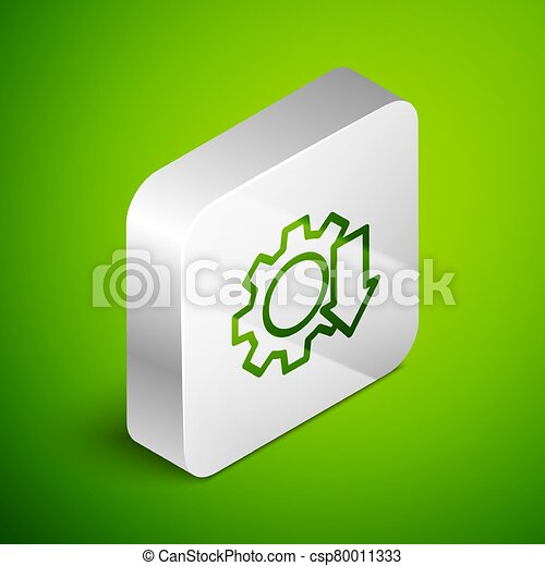 Isometric line Cost reduction icon isolated on green background. Silver square button. Vector Illustration - csp80011333