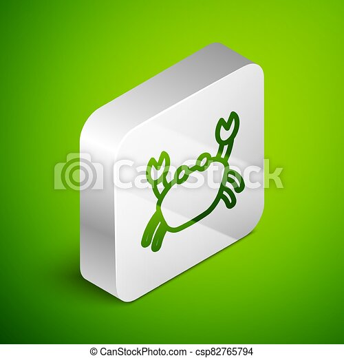 Isometric line Crab icon isolated on green background. Silver square button. Vector - csp82765794