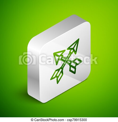 Isometric line Crossed arrows icon isolated on green background. Silver square button. Vector Illustration - csp79915300