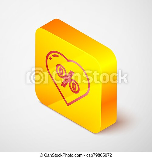 Isometric line Discount percent tag in heart icon isolated on grey background. Shopping tag sign. Special offer sign. Discount coupons symbol. Yellow square button. Vector Illustration - csp79805072