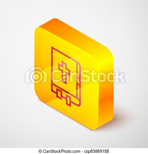 Isometric line Holy bible book icon isolated on grey background. Yellow square button. Vector Illustration - csp83869188