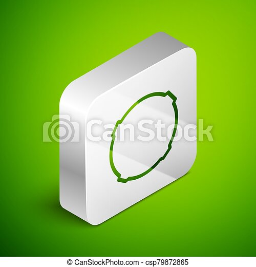 Isometric line Moon icon isolated on green background. Silver square button. Vector Illustration - csp79872865