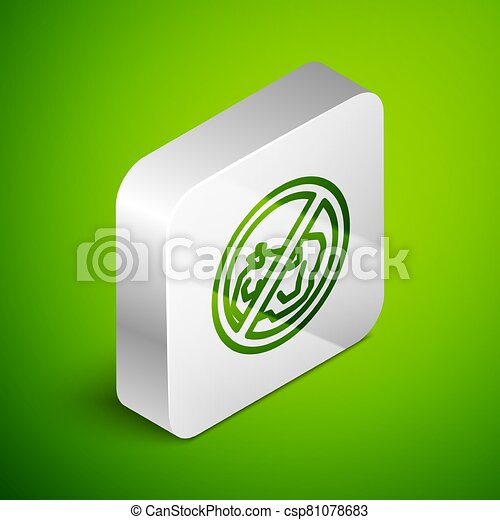 Isometric line No trash icon isolated on green background. Silver square button. Vector Illustration - csp81078683