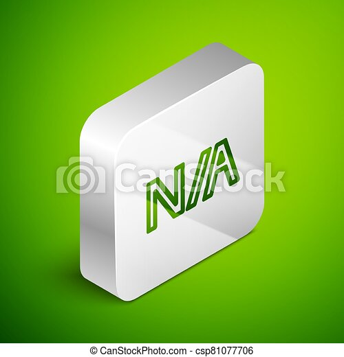 Isometric line Not applicable icon isolated on green background. Silver square button. Vector Illustration - csp81077706