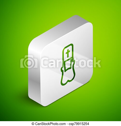 Isometric line Priest icon isolated on green background. Silver square button. Vector Illustration - csp79915254