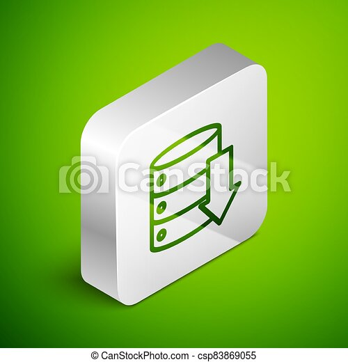 Isometric line Server, Data, Web Hosting icon isolated on green background. Silver square button. Vector Illustration - csp83869055