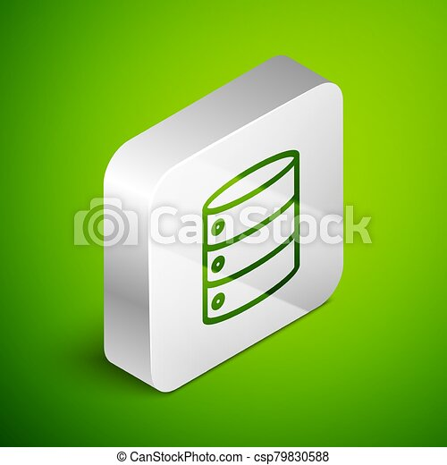 Isometric line Server, Data, Web Hosting icon isolated on green background. Silver square button. Vector Illustration - csp79830588