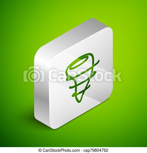 Isometric line Tornado icon isolated on green background. Silver square button. Vector Illustration - csp79804762