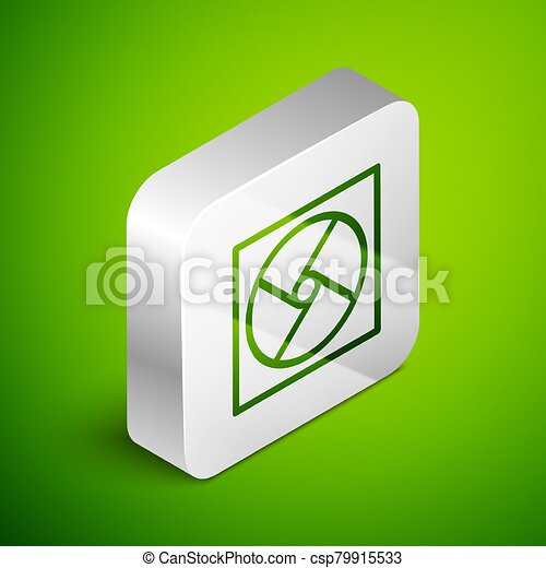 Isometric line Ventilation icon isolated on green background. Silver square button. Vector Illustration - csp79915533