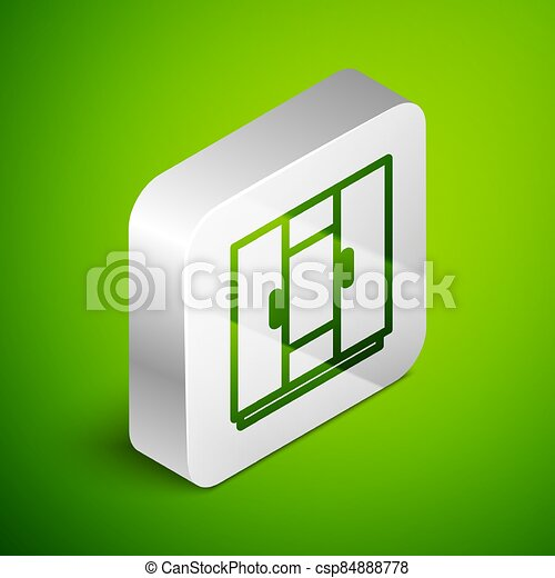 Isometric line Wardrobe icon isolated on green background. Silver square button. Vector - csp84888778