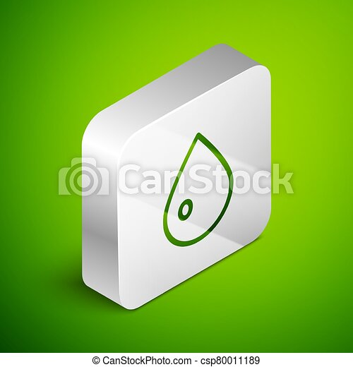 Isometric line Water drop icon isolated on green background. Silver square button. Vector Illustration - csp80011189