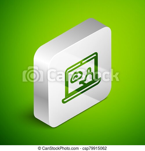 Isometric line Weather forecast icon isolated on green background. Silver square button. Vector Illustration - csp79915062